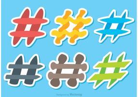 Colorido Hashtag Iconos Vectores
