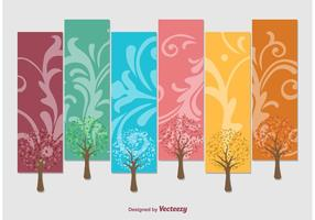 Seasons Vector Tag Trees