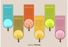 Modèles vectoriels d'étiquettes d'arbres saisonniers