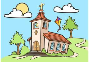 Country Church Vector Drawing Free