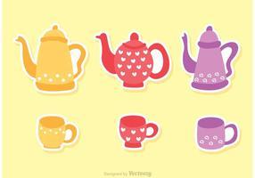 Tee Zeit Set Vektoren