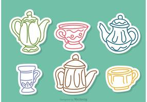 Colorful Tea Set Outline Vectors