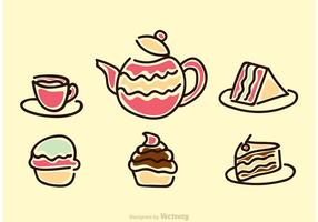 High Tea Party Icons Vector