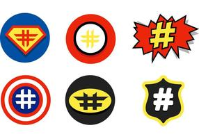 Comic Hashtag Vector Iconos
