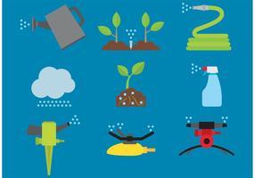 Iconos del vector del jardín y de la irrigación