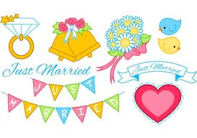 Just Married Graphics Set vector