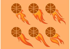 Outro Flaming Basketball Vector Set