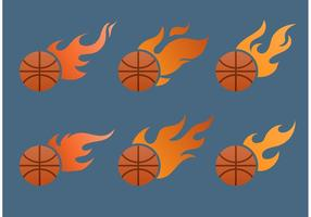 Vlammende basketbal vector set