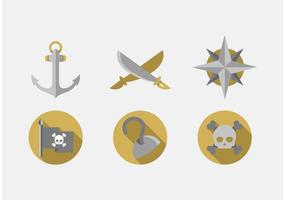 Set Pirate Vector Icons Set