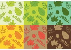Vecteurs de motifs à feuilles dessinées à la main
