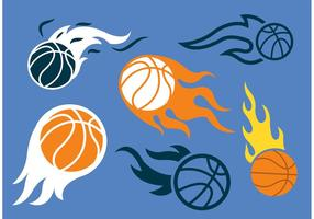 Basketbal op vuur vector pack