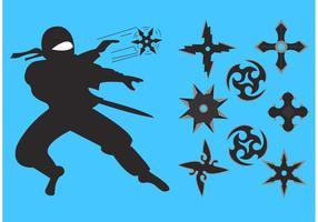 Ninja lanzar estrellas vectores