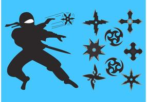 Ninja werfende Sternvektoren