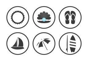 Iconos de vector de playa