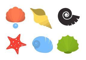 Shell de perlas y vectores de mariscos
