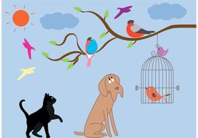 Gaiola de pássaros vintage e vetores de animais