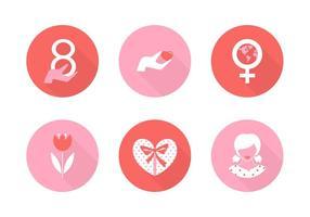 Ícones livres do vetor do dia das mulheres