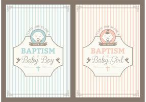 Cartões de vetores de convite de batismo retro gratuitos