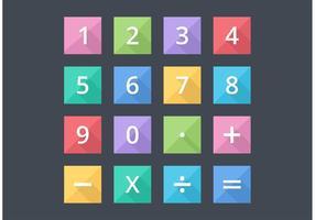 Números libres y los iconos vectoriales planos matemáticos