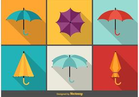 Umbrellas long shadow flat icons