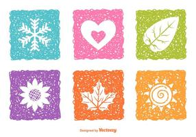 Sketched Seasonal Nature Icons  vector