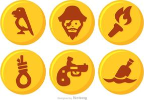 Gold Pirate Button Vector