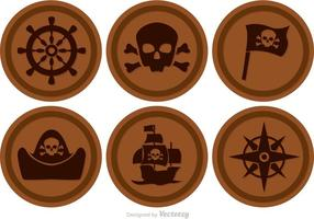 Marrón Círculo Pirata Iconos Vector