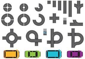 Straßenteile und Auto-Vektoren