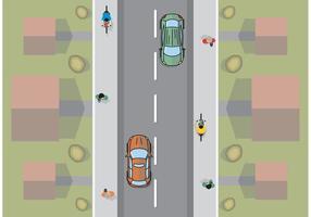 Visão aérea do carro plano vetor mínimo livre