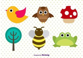 Vectores de carácter animal Cute Forest