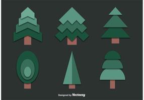Sats av utklippta trädvektorer