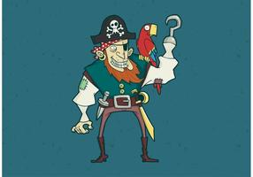 Hook and Eye Patch Pirate with Parrot Vector