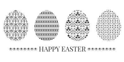 Vetor decorativo decorativo de ovo de páscoa decorativo preto