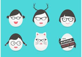 Free Female Hipster Easter Eggs Vector
