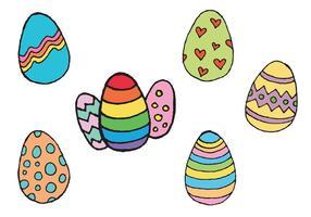 Série de vetores de mão de ovo de páscoa desenhada gratuitamente