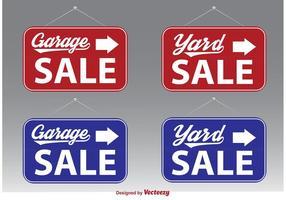 Signes vectoriels de vente de garage