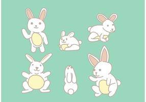 Childlike Easter Bunny Vector Set
