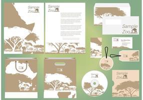 Molde do perfil do vetor da árvore Acacia do jardim zoológico