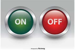 On and Off Chrome Buttons vector