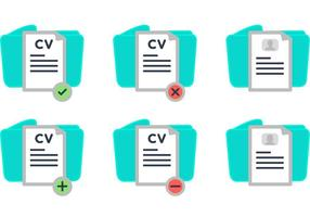 Curriculum Vitae and Folder Vector Icons