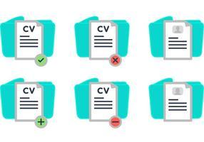 Curriculum Vitae y iconos de vector de carpeta