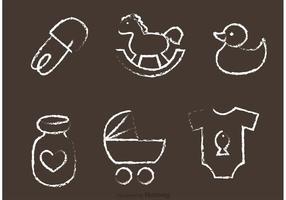 Vecteurs de jouets pour bébés dessinés à la craie
