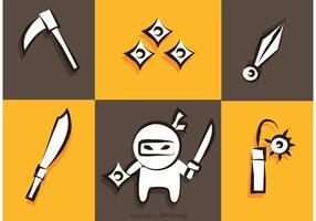 Ninja Y Armas De Los Iconos Vector