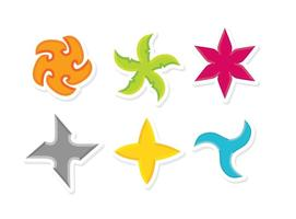 Colorful Ninja Star Icons Vector