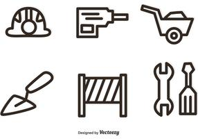 Construction Tool Outline Icons Vector