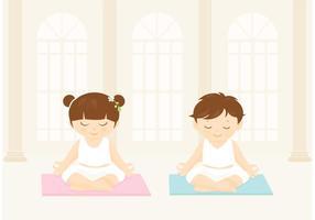 Los niños libres practican el vector del yoga