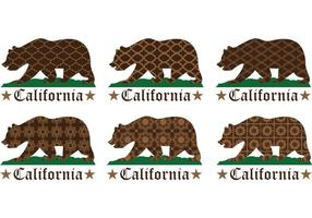 Patterned California Bear Vectors