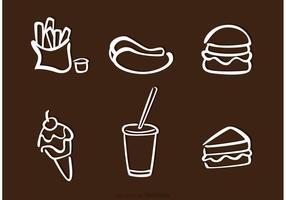 Witte Food Outline Pictogrammen Vectoren
