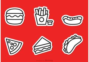 Fast Food Outline Pictogrammen Vector