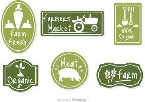 Vecteur de badge vert du marché des agriculteurs
